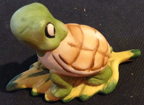 Tortoise, Turtle, Ceramic Figurine, Tortoise on Leaf