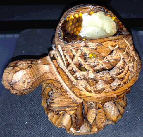 Tortoise, Turtle, Candle Holder, Carved Wooden Tortoise,