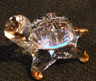 Turtle, Tortoise, Glass, Crystal, Gold leaf detailing,