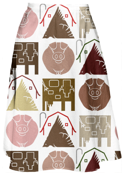 Veterinary, Farm, Animals, Cow, Chicken, Pig, Agriculture, Midi Skirt, Print All Over Me, Patterns