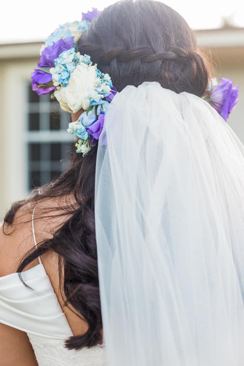 bridal flower headpiece detail