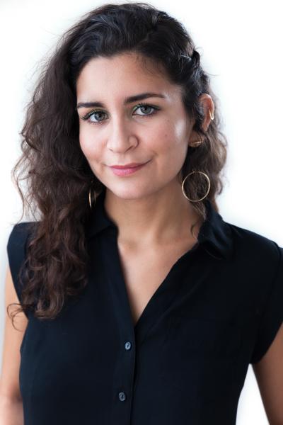 indoor headshot woman artist white background