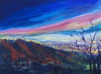 painting, bristol, mountains, sunset, sunrise
