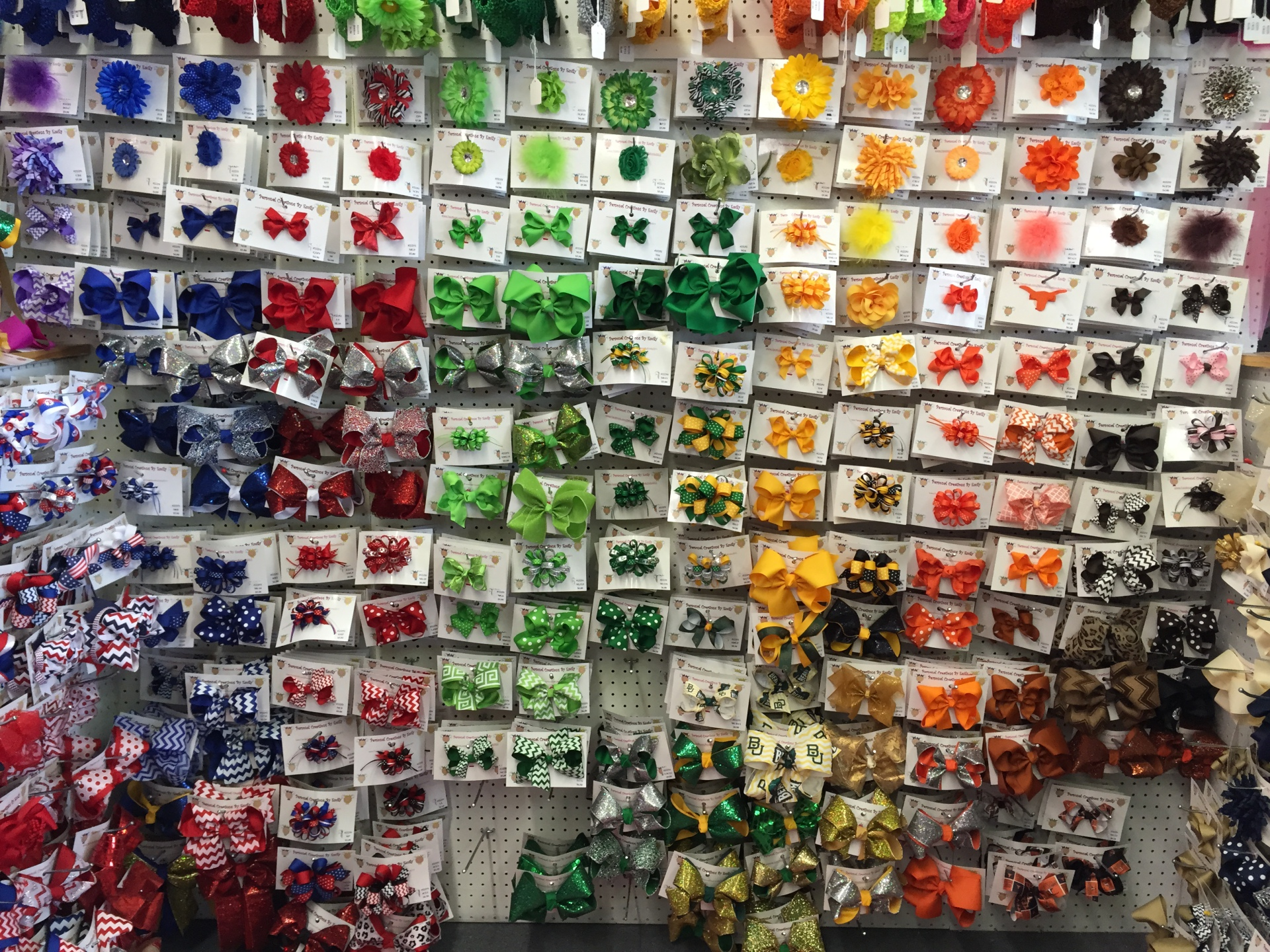 Hair bows of every color and size including special orders. The Waco hair bow superstore!
