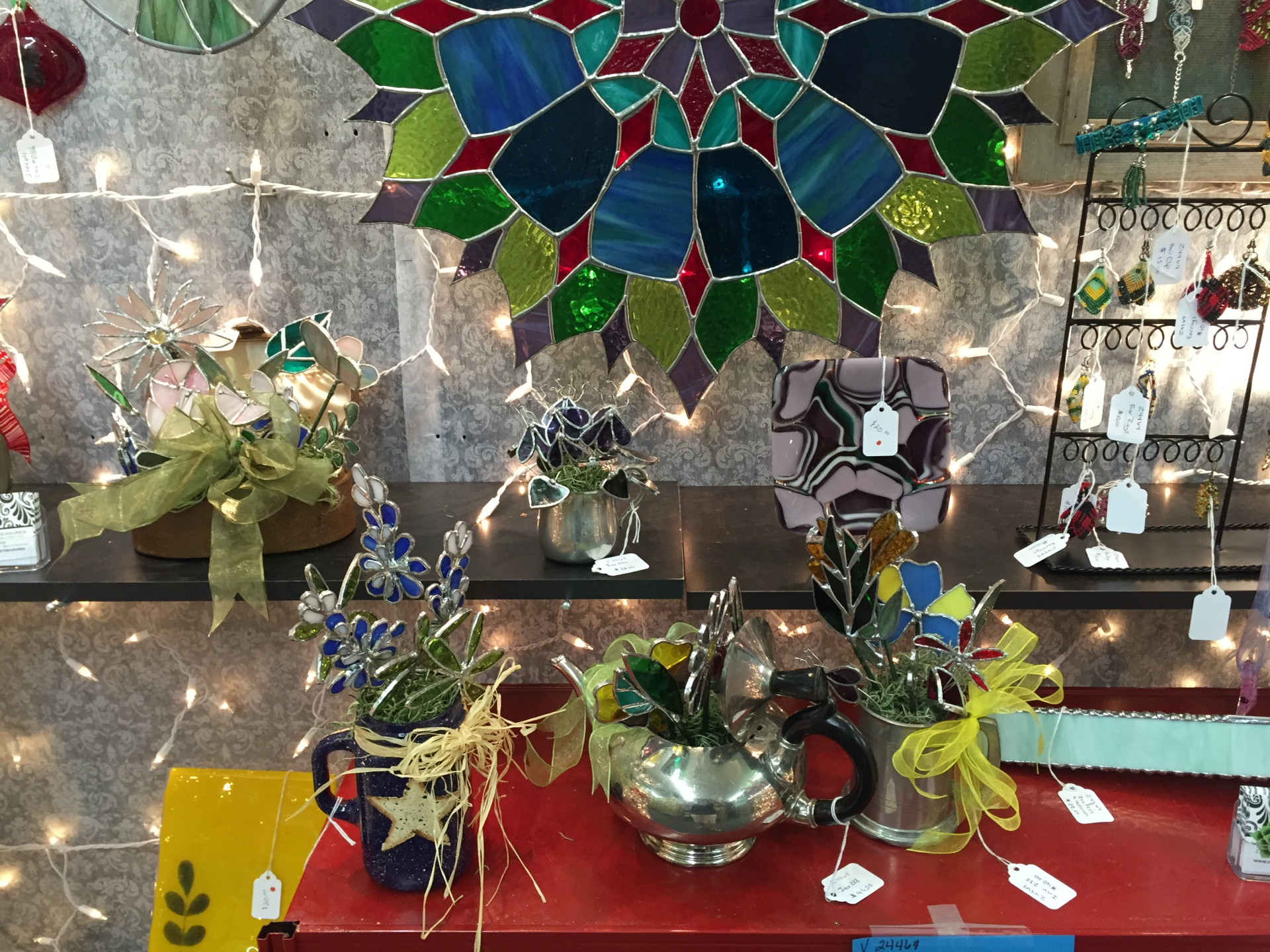 Wonderful handmade stained glass that is locally made.