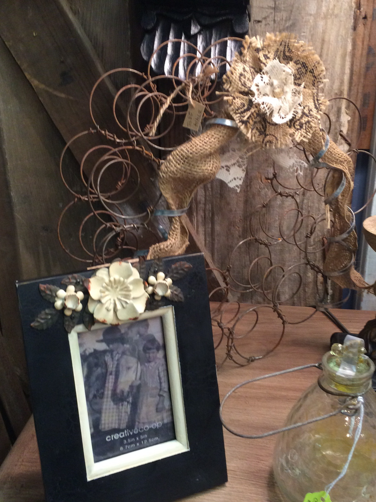 Rusty antique bed spring wreath