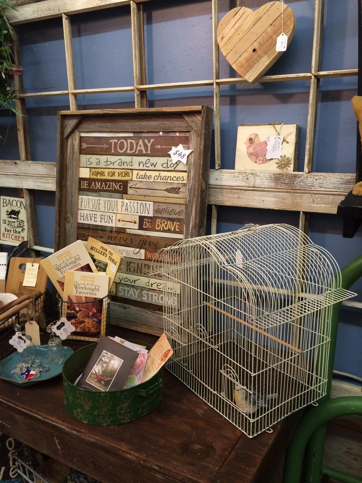 Birdcage and barn wood frame