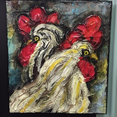 Hand painted roosters. Waco artist will amaze you with her talent.