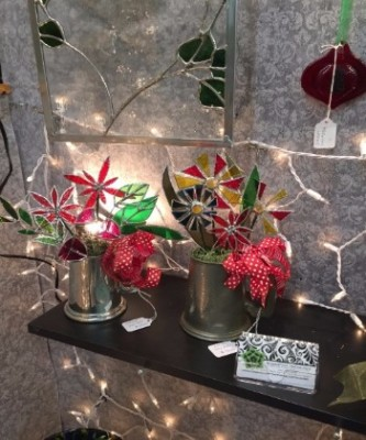 How about stained glass that is made locally. These flowers are a work of art for any home!