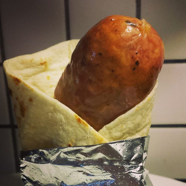 Sausage in a tortilla
