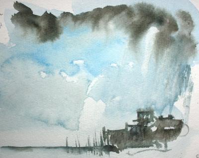 The Cob, Lyme Regis (rain painting)