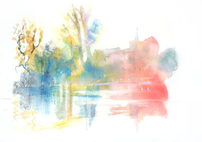 Pastel and Watercolour Carshalton Ponds Autumn Colou