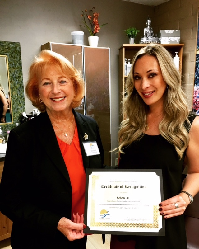 Salon LG receives Solana Beach Chamber of Commerce Recognition!