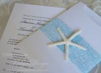 beach invitations blue mesh