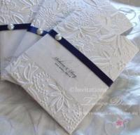 Embossed Invitations navy blue