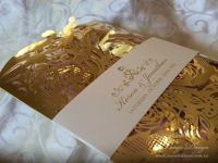 Lasercut wedding invitation gold foil