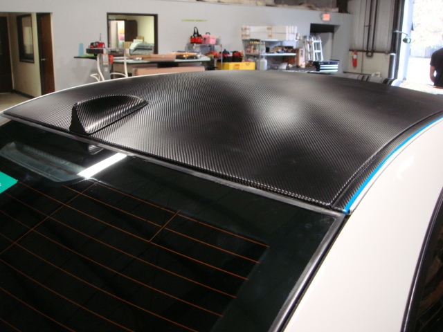 Carbon Fiber wrapped BMW roof