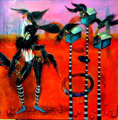 "Crow Dancer, 24""x 24"", $475"