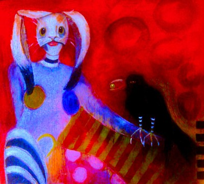 "Rabbit clown with her magic crow, 24""X 24"", $475"