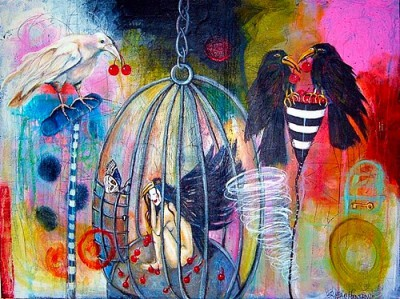 "Her wings were clipped, 36""x 48"", $1200"