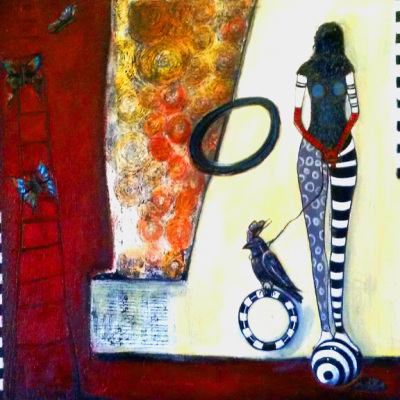 "Butterflies and Crow Tamer, 36""x 36"", $1200"