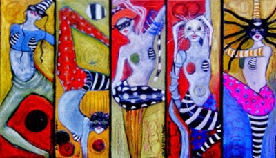 5 Small Acrobats Paintings