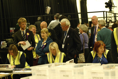 Votes being counted at the Corn Exchange in Haddington