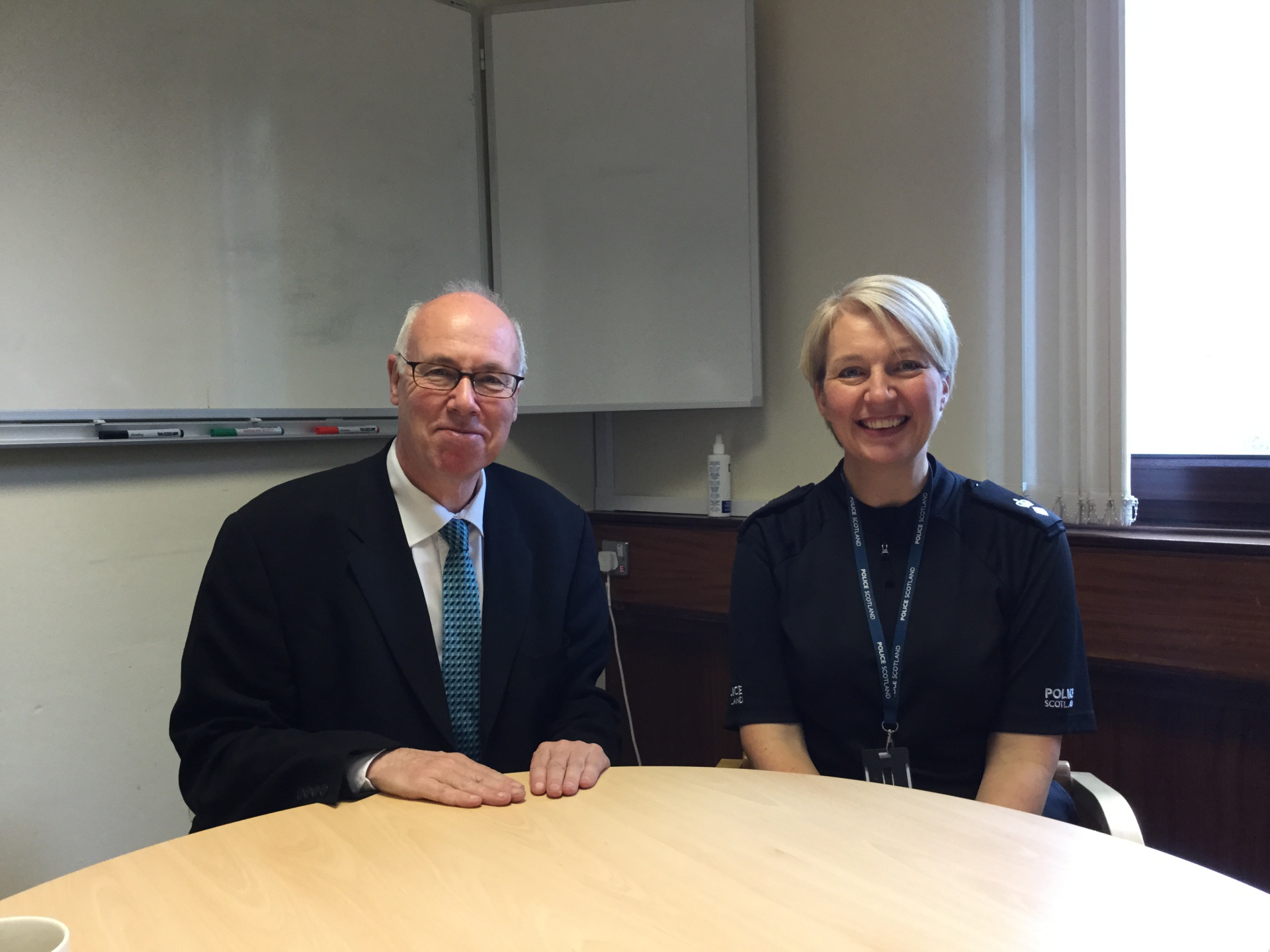 Discussing policing with Chief Superintendant Gillian Imery, Dalkeith