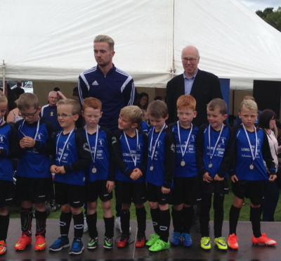 Presenting medals at the Kenny Ritchie Festival of Football, Musselburgh