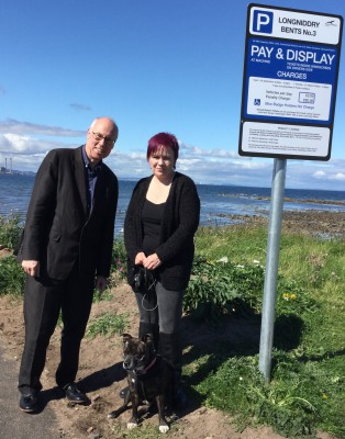 Campaigning against coastal car parking charges with Jayne and Sox, Longniddry Bents