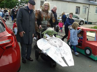 Escorting baby Yoda at Wallyford Gala