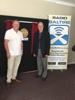 Attending the relaunch of Radio Saltire with local SNP Cllr. Kenny McLeod, Tranent