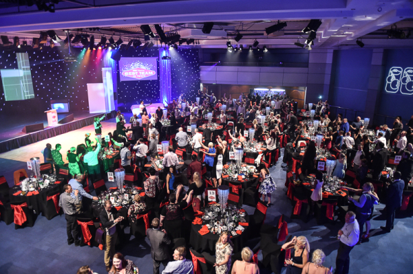 An aerial view as we entertain at a corporate event