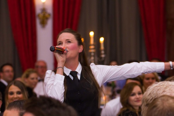 Our Singing Waitress giving it her all mid song