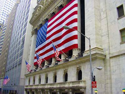 Wall Street Building with Flag