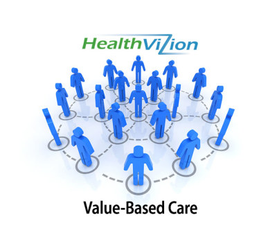 healthvizion symbol for collaborative, men forming a network