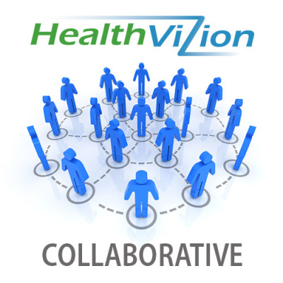 symbol for healthvizion collaborative, men forming a network