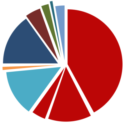 pie chart showing hospital workforce percentages
