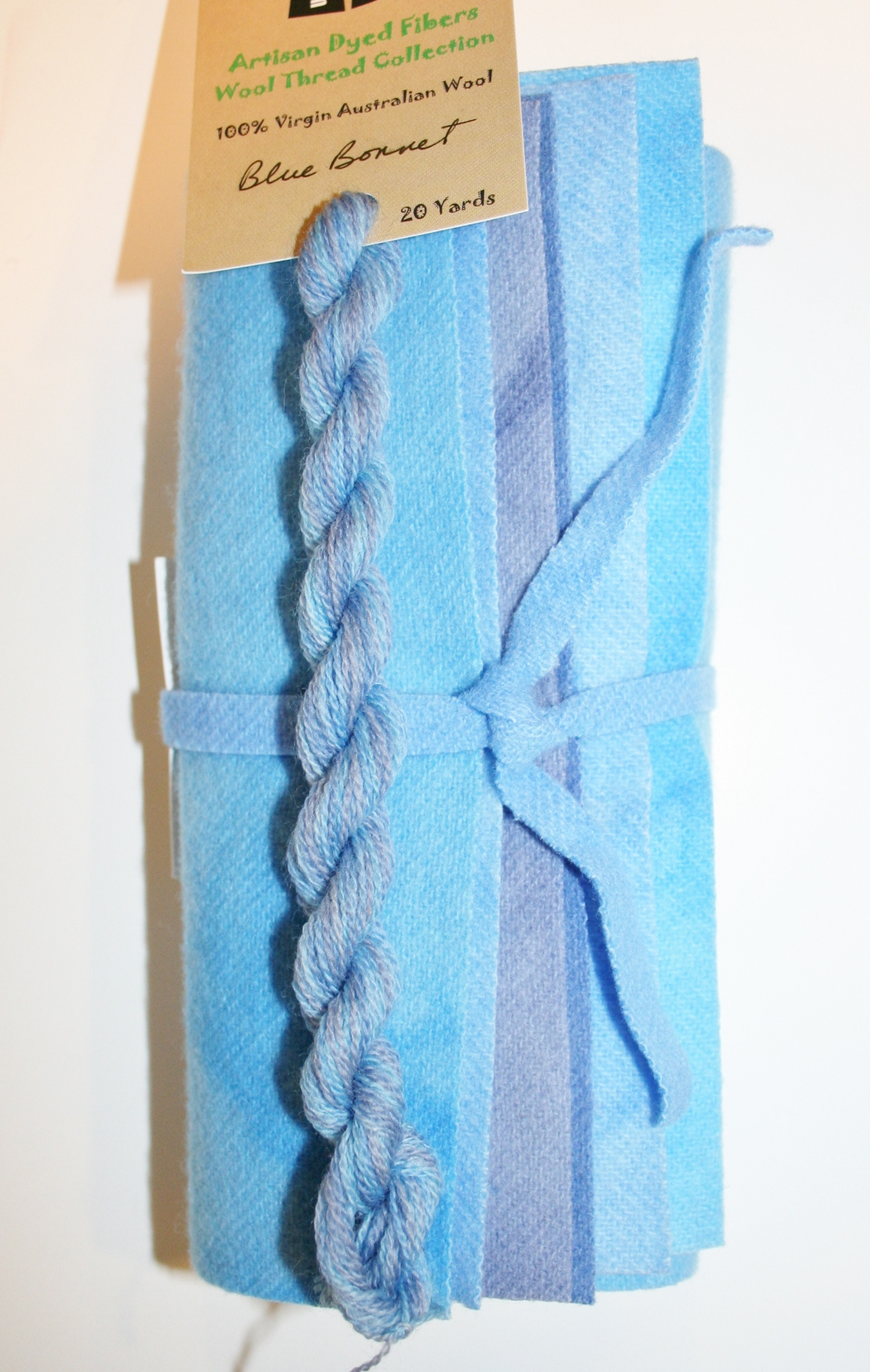 Blue Bonnet Hand Dyed Wool Six Pack light Blues to Medium Blues