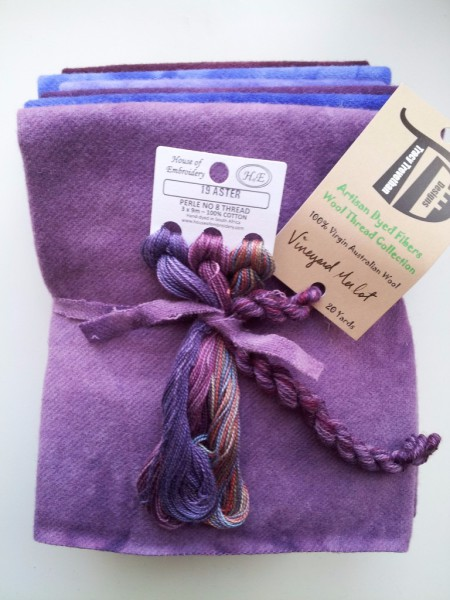 Vineyard Bundle, 1/8th of each of the 6 colors in our Vineyard Collection. And one skein of Vineyard Merlot Hand Dyed Wool Thread and one 3 pack of Aster Perle Cotton no. 8 Hand Dyed in South Africa.