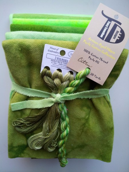 Celery Bundle, 1/8th of each of the 6 colors in our Citrus Collection. And one skein of Citrus Hand Dyed Wool Thread and one 3 pack of Bulrush Cotton no. 8 Hand Dyed in South Africa.