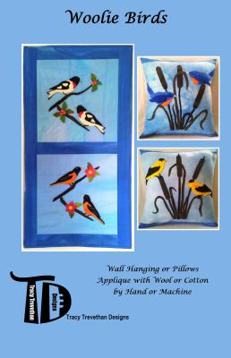 Patten includes 4 birds for applique. Rose Breasted Grosbeak, American Goldfinch, Baltimore Oriole, American Bluebird.