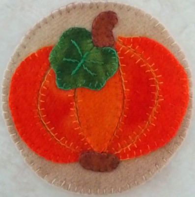Pumpkin Pie Coaster, hand applique