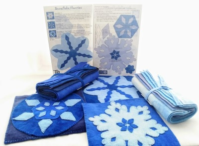 Snowflakes, hand dyed wool, wool applique, wool thread
