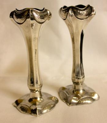 Pair Art Nouveau Clawfoot vases
