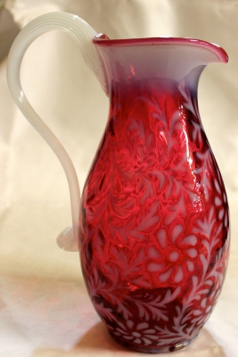 Edwardian Fenton Ruby Glass Vaseline Jug