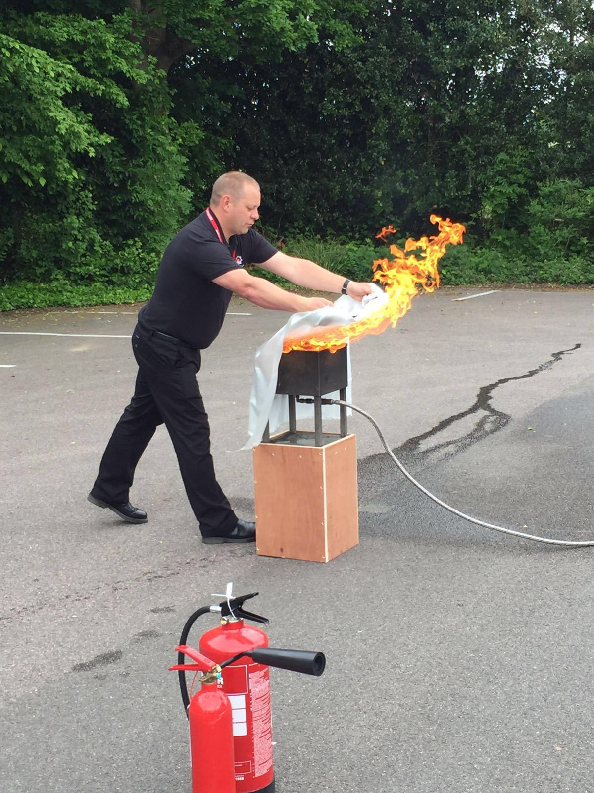 fire blanket demonstration