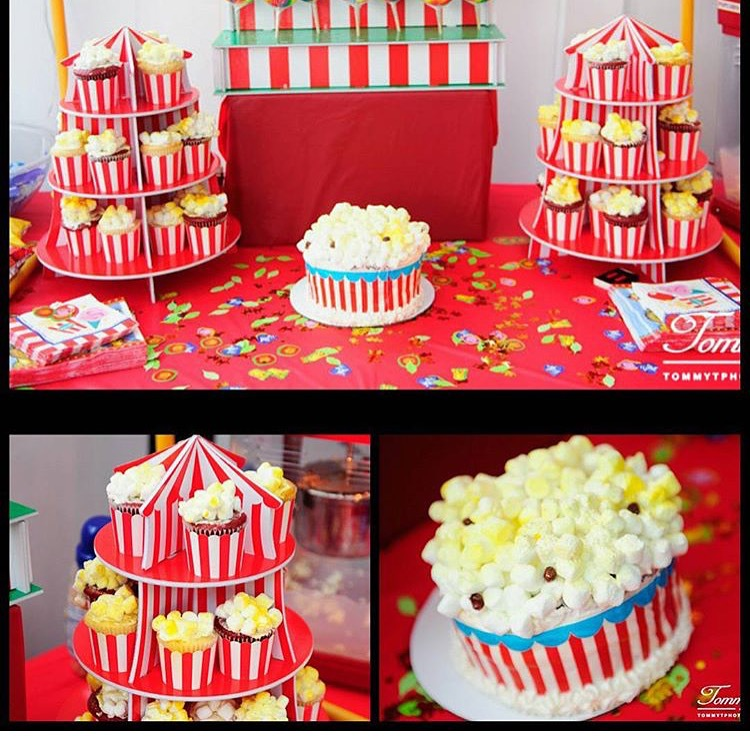 Carnival Popcorn Themed Cake and Cupcakes