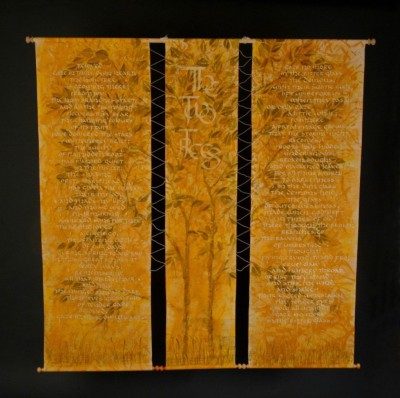 Acrylic,gouache, carat cold leaf, machine embroidery, calico, poetry, wooden rods.nature, trees.