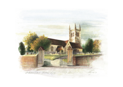 Watercolour, watercolour board, Farnham, St. Andrew's, church, religion. architectural